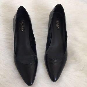 { Ralph Lauren } low scalloped leather heel